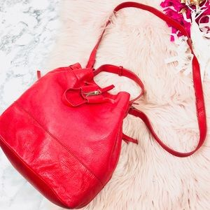 EUC Zara Red Leather Silver Hardware Bucket Bag